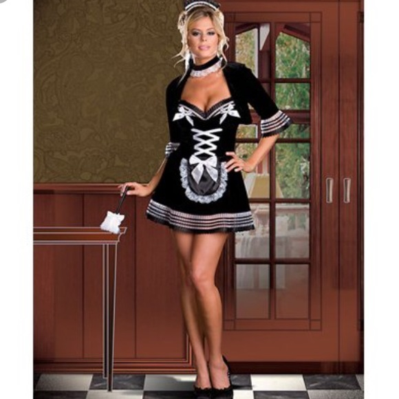 7826d8e6135 Dreamgirl Black Sexy Naughty Maid Costume